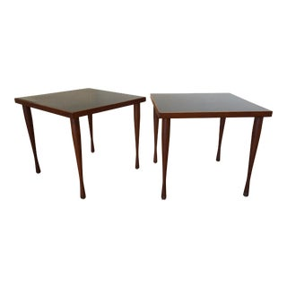 Hans C. Andersen Vintage Teak and Black End Tables, Made in Denmark, a Pair For Sale