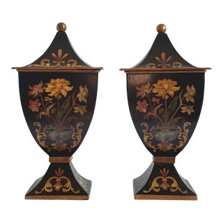 Vintage Decorative Crafts Inc Tole Painted Urns-A Pair For Sale