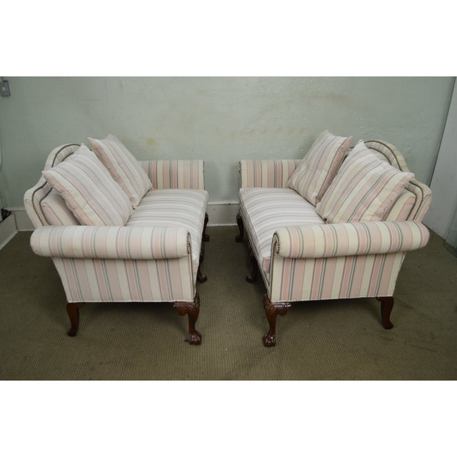 Chippendale Heritage Chippendale Style Ball & Claw Foot Loveseats - A Pair For Sale - Image 3 of 10