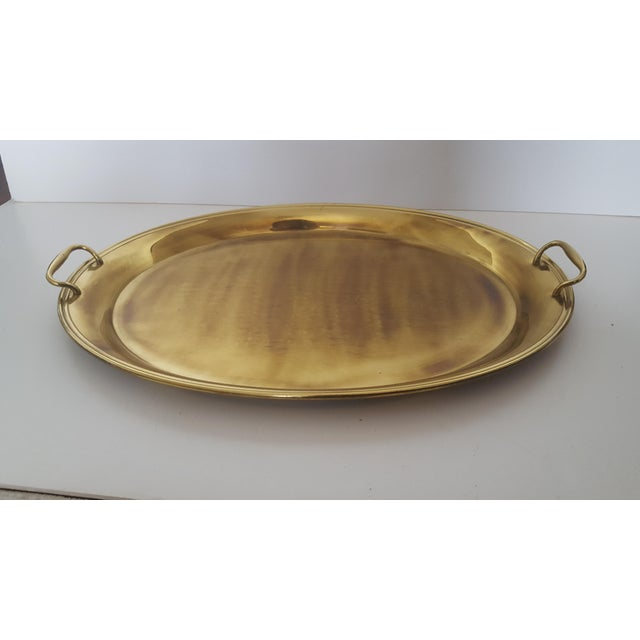 Large Solid Brass Handled Tray Could be used on a bar cart holding Liqour bottles and highball glasses, on a coffee table...