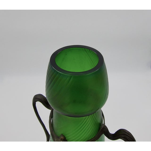 Large Iridescent Green Art Glass Vase With Art Nouveau Maiden Metal Mount For Sale - Image 10 of 13