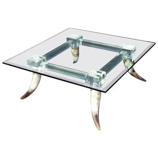 Bull Horns Shaped to Legs Lucite Stretchers Base Square Glass Top Coffee Table For Sale