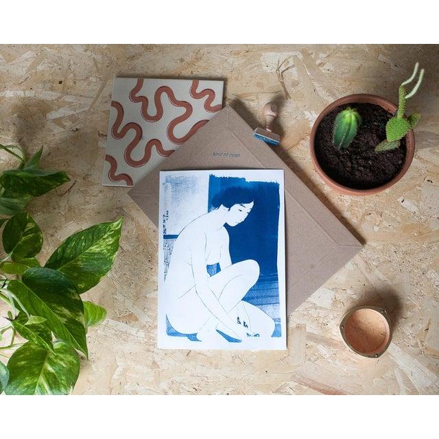 Asian Ukiyo-e Geisha Bathing, Handmade, Cyanotype on Watercolor, Limited Serie A4 For Sale - Image 3 of 7