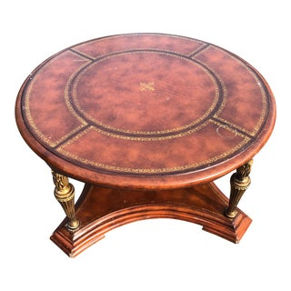 Vintage Leather Top Acanthus Coffee Table For Sale