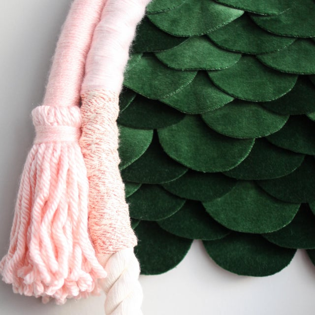 Hand wrapped cotton in various shades of light pink yarns, attached to a panel of scalloped emerald green cotton velvet,...