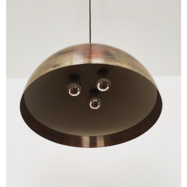Mid-Century Modern Mid-Century Modern Patinated Copper Dome Pendant Lamp by Beisl For Sale - Image 3 of 9
