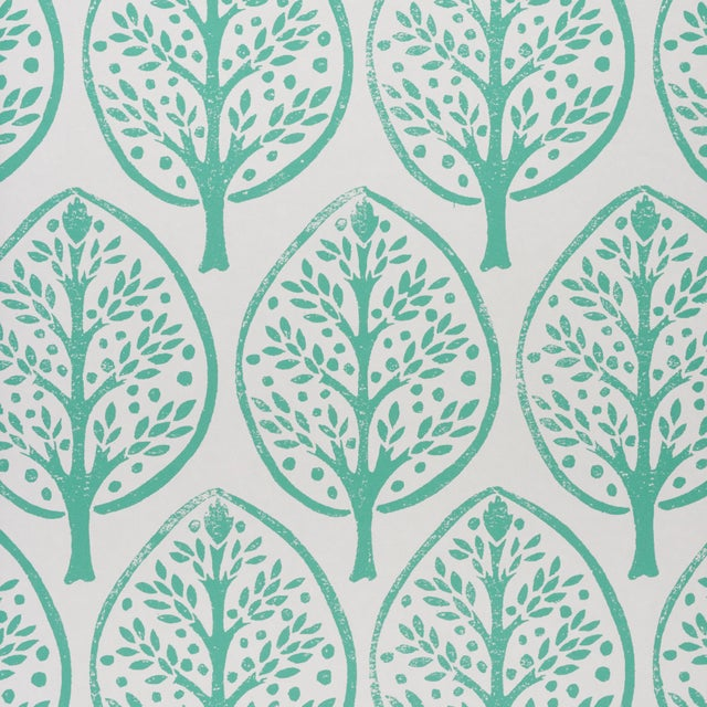 Contemporary Schumachr x Molly Mahon Tree Wallpaper in Seaglass For Sale - Image 3 of 6