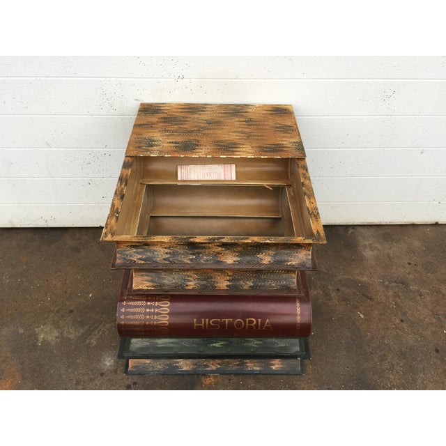 Blue Italian Metal Tole Painted Book Stack Table For Sale - Image 8 of 9