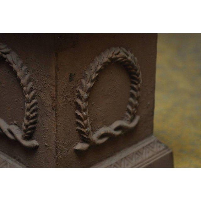 Iron Neoclassical Cast Iron Pedestals or Urns - a Pair For Sale - Image 7 of 10