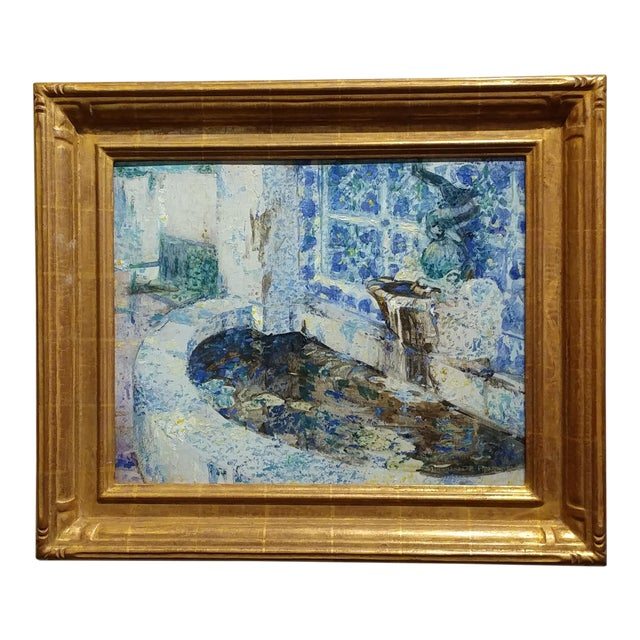 Douglass Parshall - Tiled Fountain -Oil Painting - California Impressionist For Sale