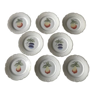 1980s Boho Chic Hand Painted China Fruit Plates - Set of 8 For Sale