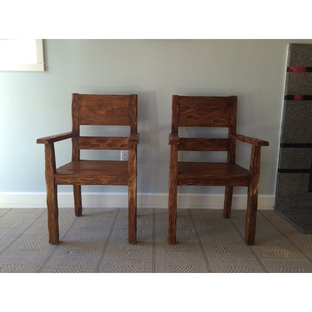 African Style Carved Wooden Chairs - A Pair - Image 11 of 11