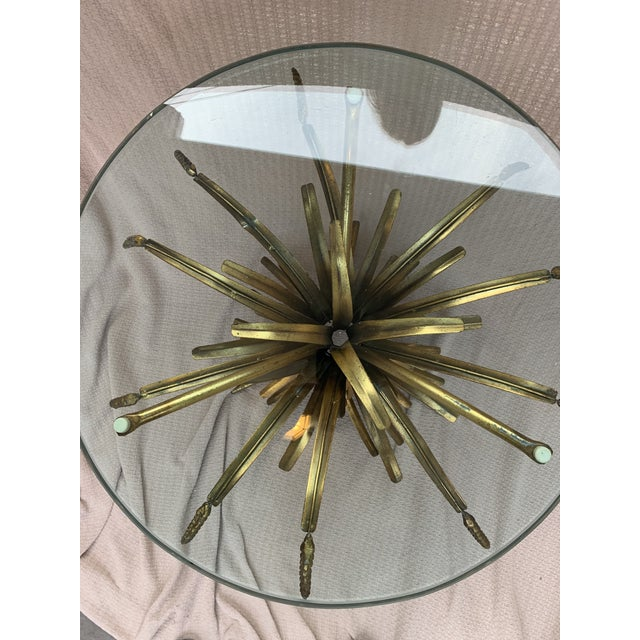 Vintage French Provincial Wheat Sheaf Glass Side Table For Sale - Image 4 of 13