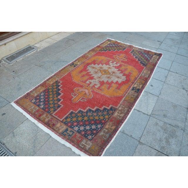 Islamic Turkish Bohemian Handwoven Carpet - 4′4″ × 8′5″ For Sale - Image 3 of 6
