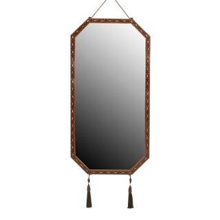 Ench Art Deco Mahogany Horizontal 8 Sided Narrow Wall Mirror For Sale