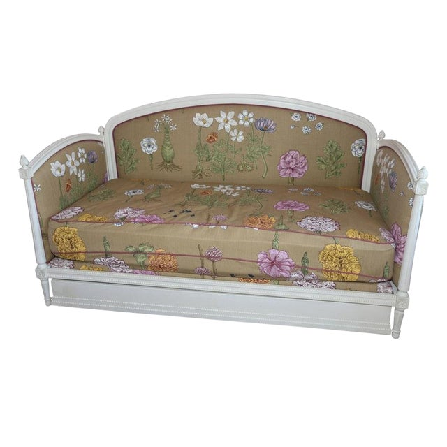 Modern Ornately Wood Carved Custom Botanical Print Upholstery Day Bed For Sale