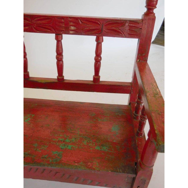 Wood Small Vintage Painted Carved Bench For Sale - Image 7 of 8
