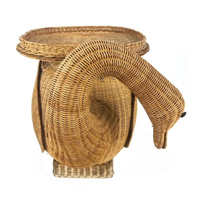 Boho Chic Vintage Woven Wicker Rattan Swan Goose Side Table Plant Stand For Sale - Image 3 of 6