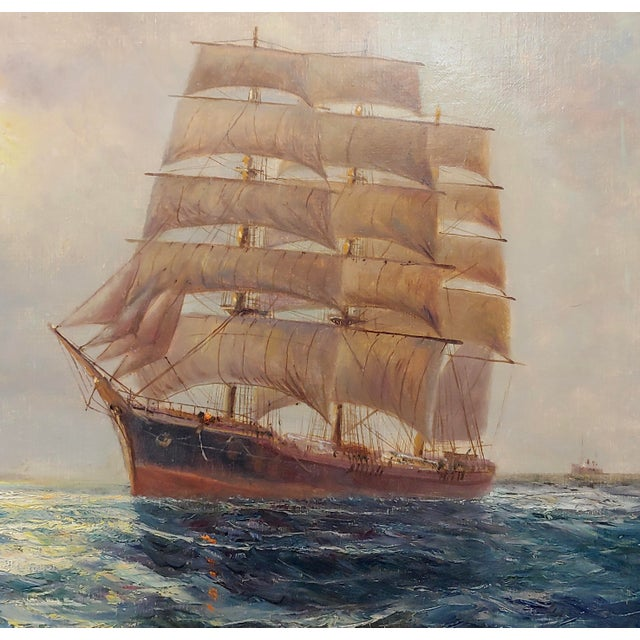 "Daniel Sherrin the Elder ""Clipper Ship"" Seascape Oil Painting, 19th Century For Sale - Image 4 of 10"