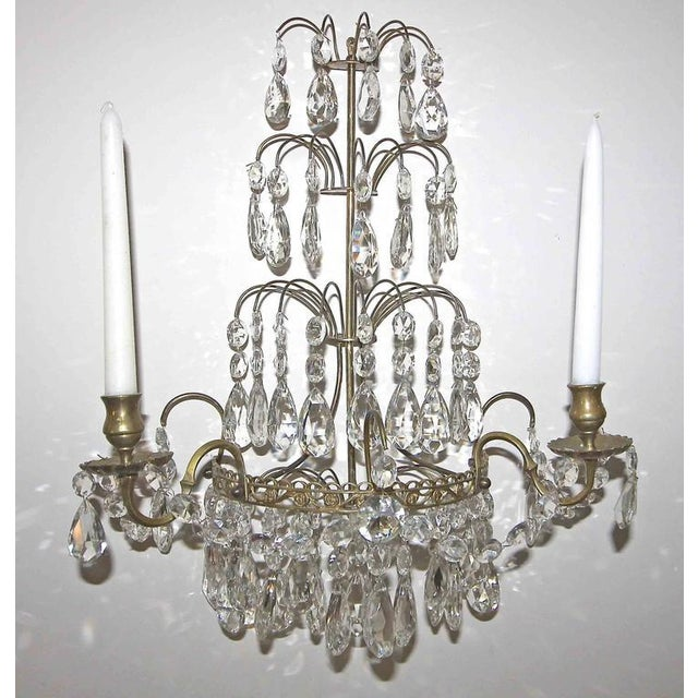 Brass 1920s Swedish Gustavian Style Crystal and Brass Candle Wall Sconces - a Pair For Sale - Image 8 of 11