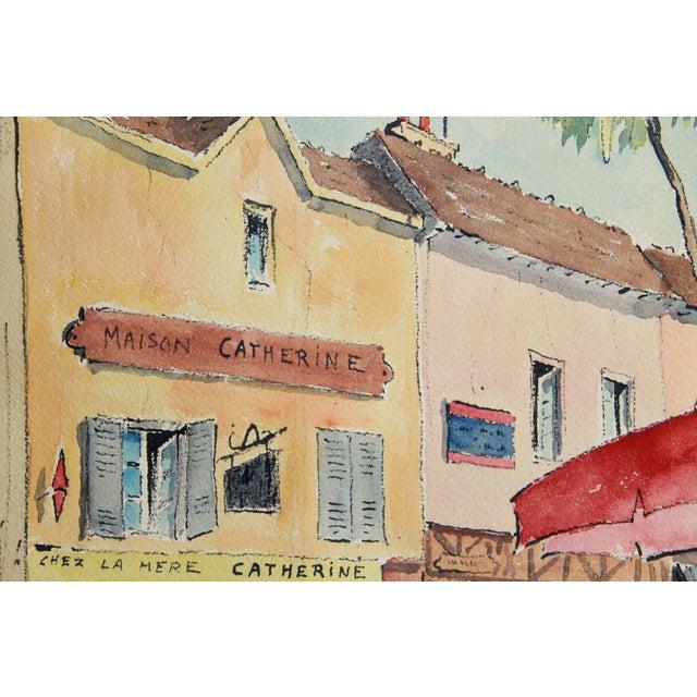 Mid-Century Paris Street Watercolor - Image 5 of 8