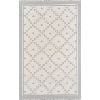 "Erin Gates Thompson Langley Grey Hand Woven Wool Area Rug 3'6"" X 5'6"" For Sale"