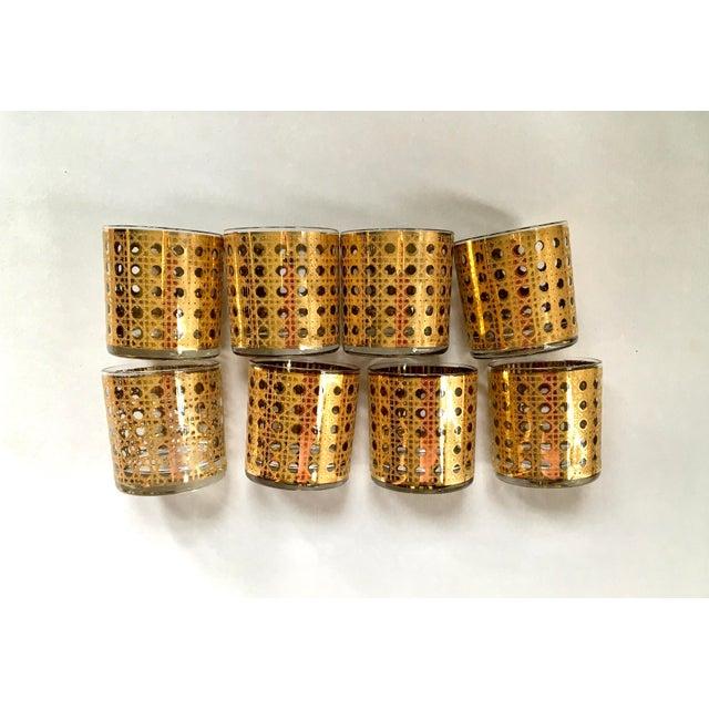 Metal Gold Gilt Cane Patterned Motif Cocktail Glasses - Set of 8 For Sale - Image 7 of 7