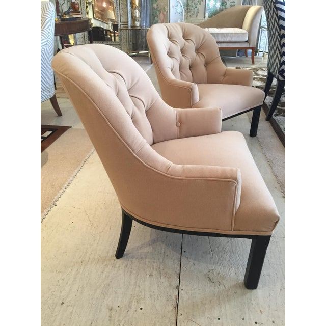 Mid-Century Modern Classic Pair of Camel Hair Mid-Century Modern Dunbar Style Club Lounge Chairs For Sale - Image 3 of 9