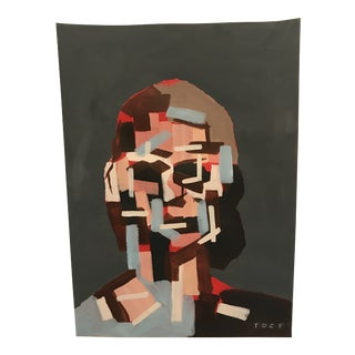 Signed Original Cubist Abstract Portrait by Artist Toby Frossell For Sale