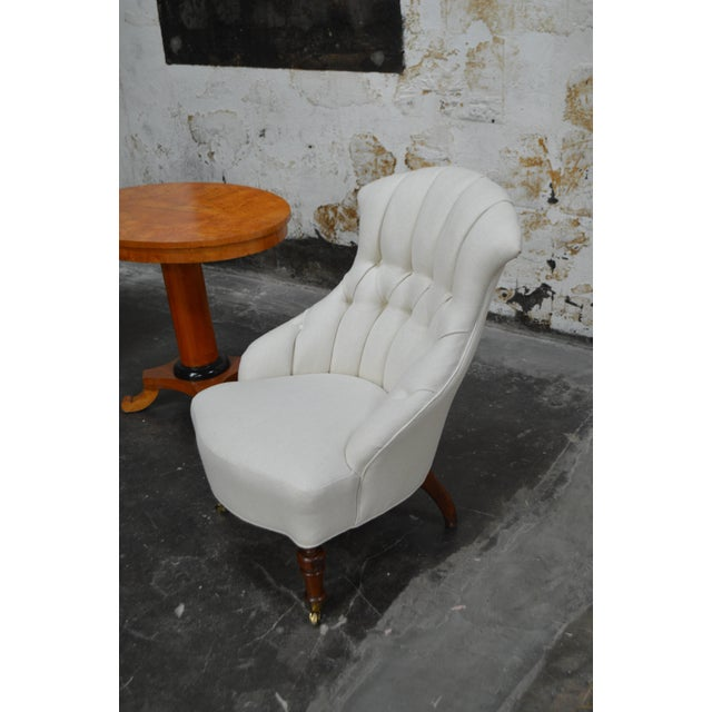 Pair of Vintage Swedish Emma Tufted Slipper Chairs, circa 1900's For Sale - Image 9 of 11