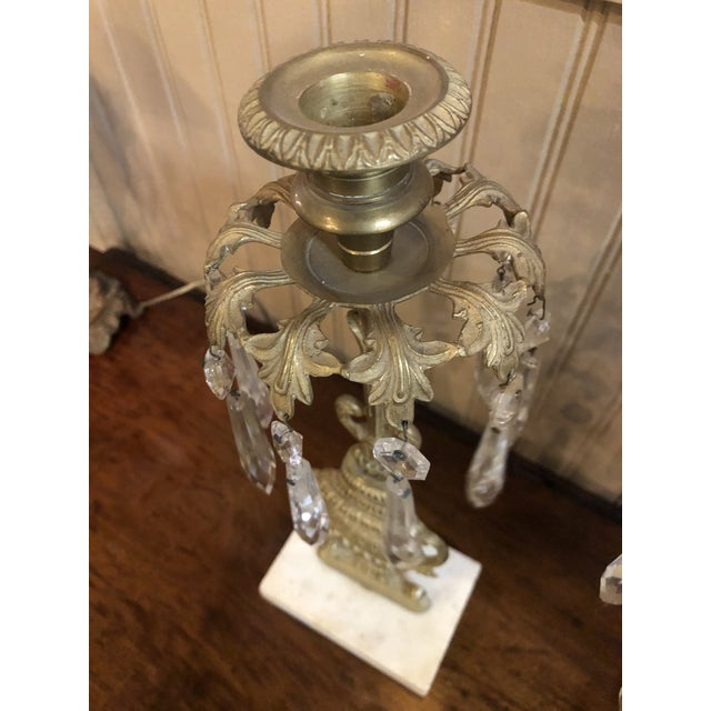 1800s Cast Brass Girandoles With Crystal Pendants - Set of 3 For Sale - Image 11 of 13