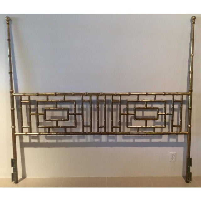 Vintage Hollywood Regency, Chinese Chippendale, faux bamboo, metal, gold gilt finish, king-size headboard. Wonderful...