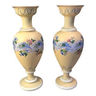 Yellow Floral Porcelain Vases - A Pair