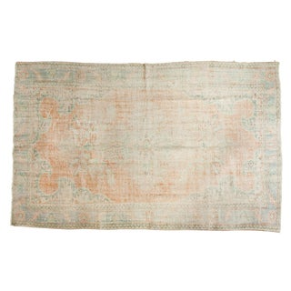 "Vintage Distressed Oushak Carpet - 6' X 9'7"" For Sale"