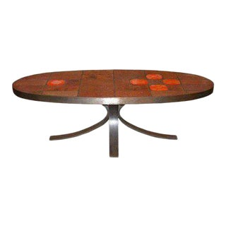 Steel and Ceramic Tile Oval Coffee Table For Sale