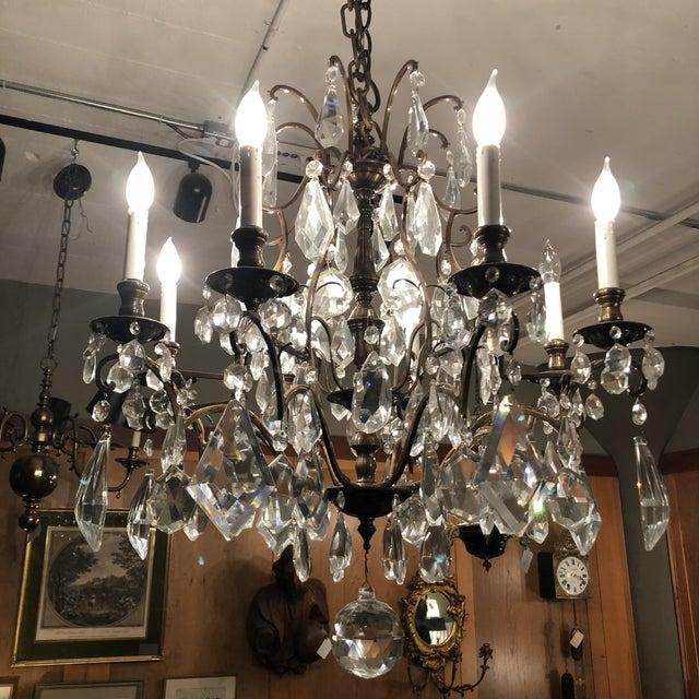 1930s Vintage Lead Crystal 8 Light Chandelier For Sale - Image 11 of 12