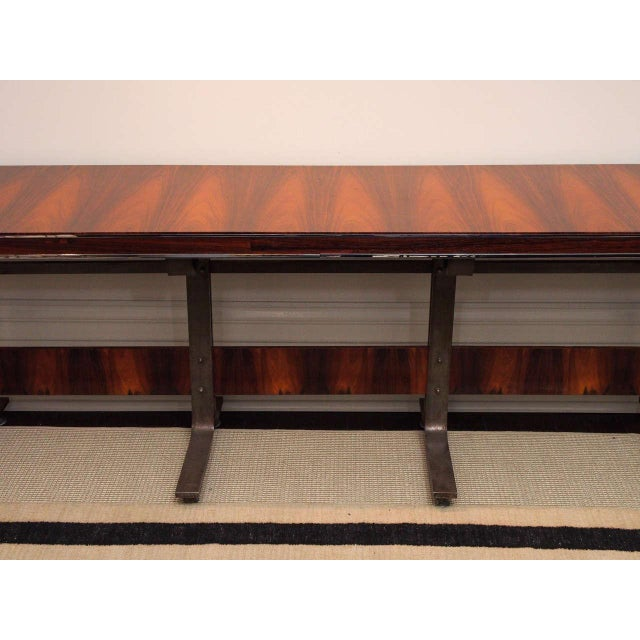 Rosewood & Steel Console For Sale - Image 4 of 11
