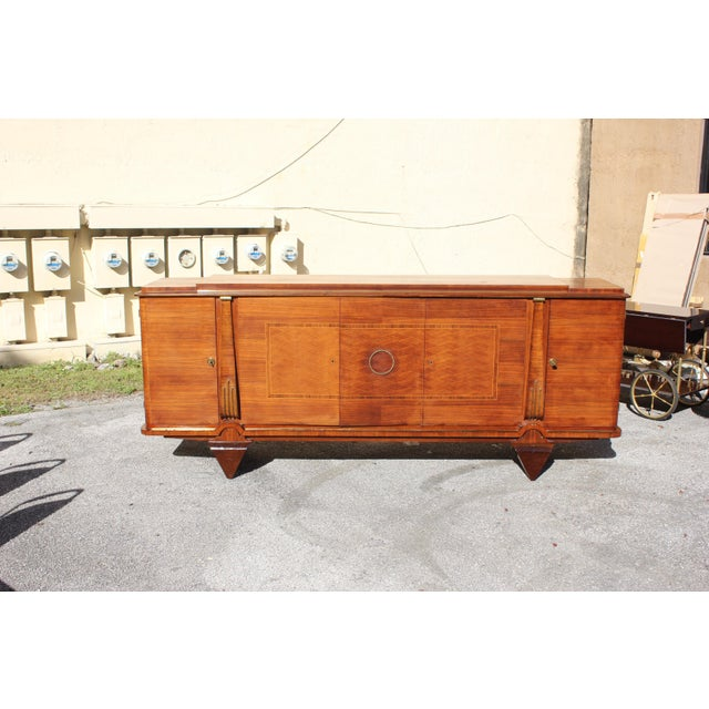 Brown Master Piece French Art Deco Sideboard / Buffet Rosewood By Jules Leleu Circa 1940s For Sale - Image 8 of 11