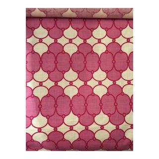 "Raspberry Pink Amanda Nesbit Quatrefoil Print ""Alannah Ii"" Linen Fabric - 9 Yards For Sale"