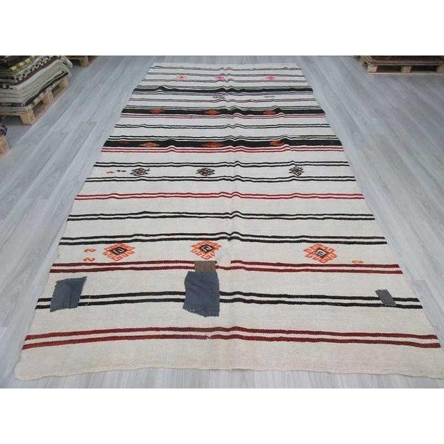 "Boho Chic Vintage Striped Turkish Hemp Kilim Rug - 6'11"" X 13'9"" For Sale - Image 3 of 6"