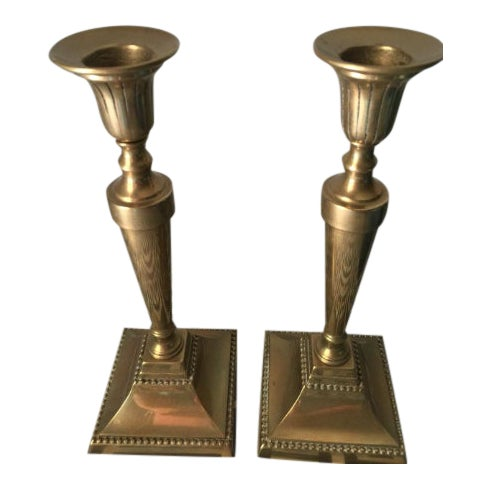 Brass Candlestick Holders - a Pair For Sale