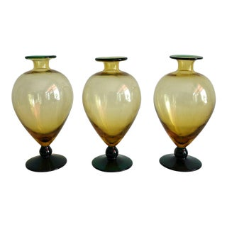 Vintage Steuben Yellow and Green Bud Vases - Set of 3 For Sale