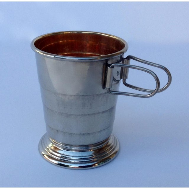 Vintage: Very rare, C.F. Rumpp & Sons, silver plated, collapsible gentleman's traveling mug, shot glass, and or cup in...