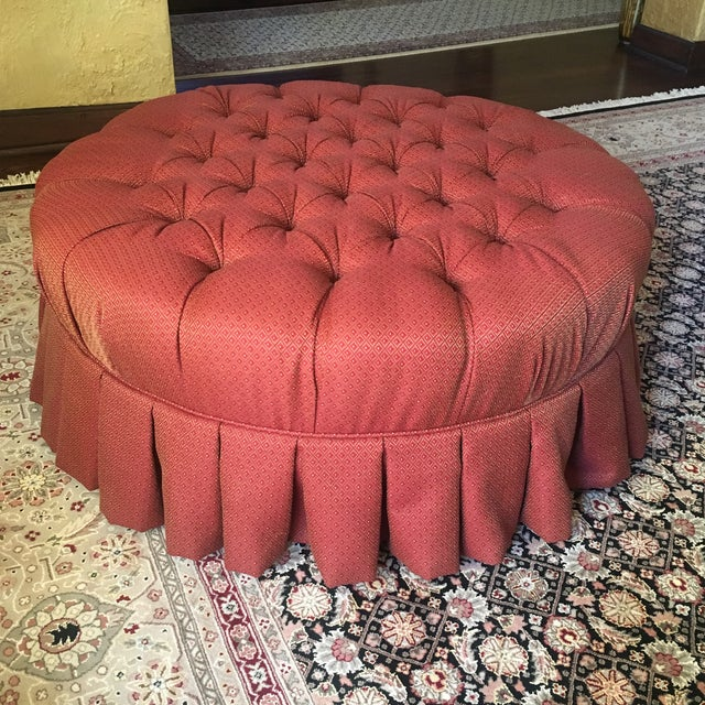 "Ethan Allen 37"" Round Red Tufted Cocktail Ottoman For Sale - Image 13 of 13"