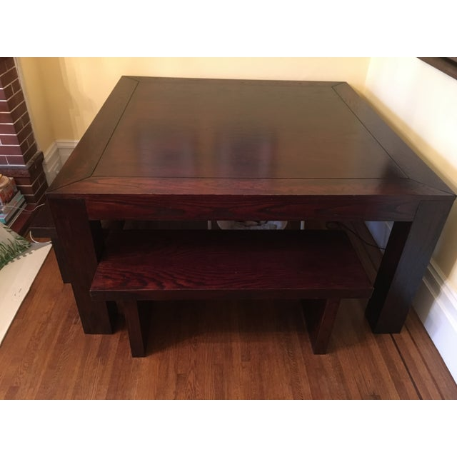 Hand Crafted Oak Table & Benches - Image 2 of 5