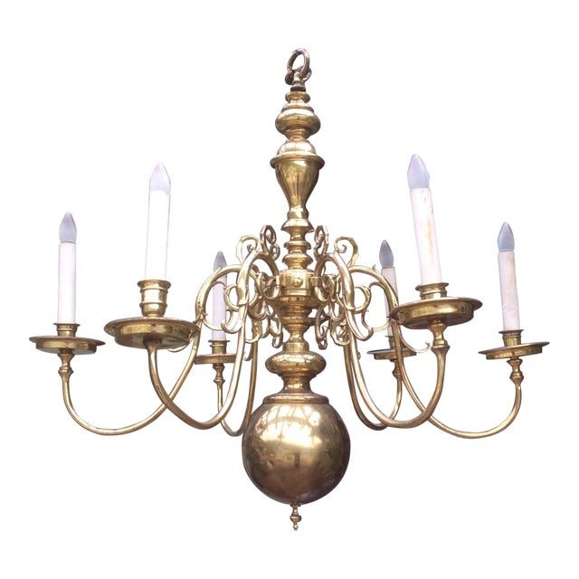 Large Dutch Style Brass Chandelier For Sale