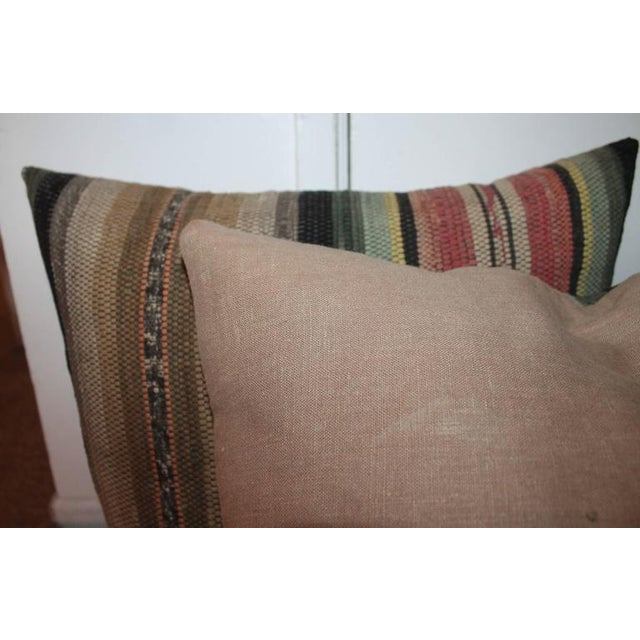 Pair of 19th Century Rag Rug Pillows For Sale - Image 4 of 6