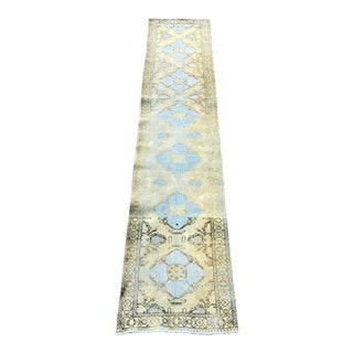 """1940s Persian Distressed Look Tabriz Avocado and Baby Blue Wool Runner - 3'8""""x12'9"""""""