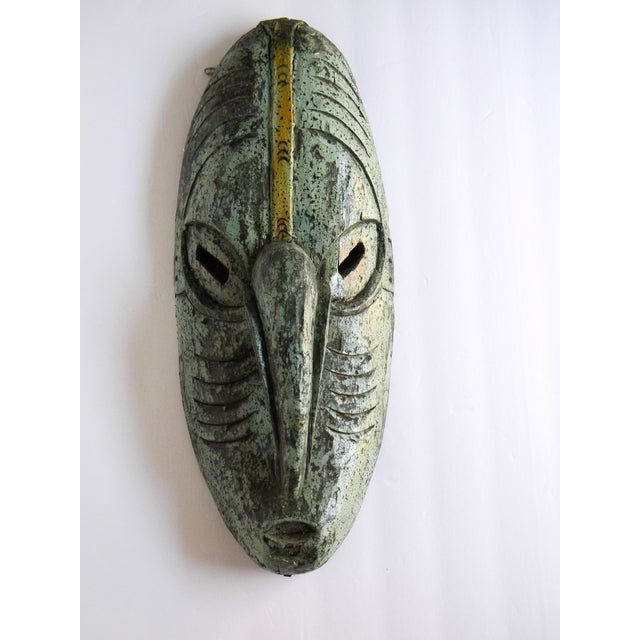 Vintage African Solid Wood Stained Teal and Gray Mask For Sale - Image 10 of 10