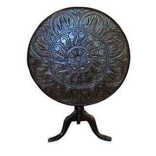 Sunflower Carved Tilt Top Table In Oak With Carved Tripod Base For Sale